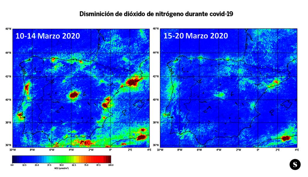 Dos imagines comparativas donde se observa la disminución del dióxido de nitrógeno entre los días 10 y 20 de marzo de 2020