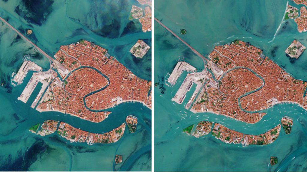 Foto tomada por el satélite Sentinel-2 de la Agencia Espacial Europea donde se observa la diferencia de hace un año y ahora del estado del agua en la ciudad.